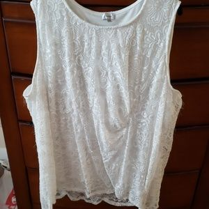 Lace Ruched Sleeveless Top